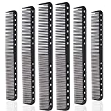 6 Pieces Carbon Fine Cutting Comb Carbon Fiber Salon Hairdressing Comb Hairdressing Comb Heat Resistant Barber Comb (6 Pieces, Black)