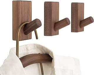YOYAI Wooden Coat Hooks 3M Self Adhesive Hook Wall Mounted Hat Rack Hanger Vintage Single Organizer Wall Rack(Black Walnut Pack of 3)
