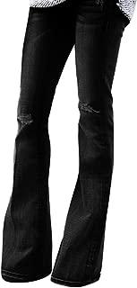 Womens Denim Flare Pants Ladies Holes Jeans Female Mid Waist Stretch Trousers