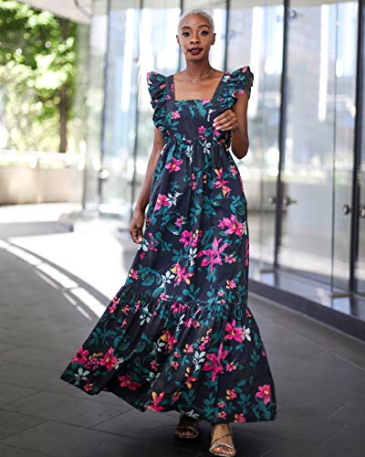 The Drop Women's Black Floral Print Ruffle Shoulder Maxi Dress by @signedblake