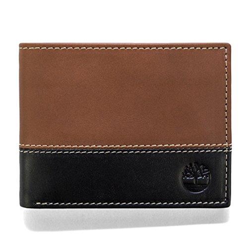 Timberland Herren Hunter Leather Passcase Trifold Wallet Hybrid Reisezubehör - zweifach gefaltetes Portemonnaie, schwarz/braun, Einheitsgröße