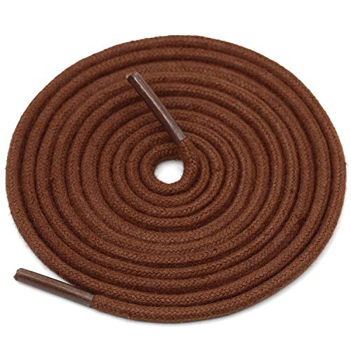 DELELE 2 Pair 39.37'Super Cotton Round Waxed Shoelaces 1/8'Thick Shoe String Boot Laces for Dress Shoes (Light Brown)