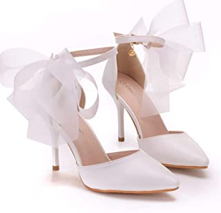 Women's Bridal Shoes,Women's Court Shoes,9cm temperament bow Stiletto heels sandals Wedding shoes Mary Jane Pumps,Clubbing Evening Wedding Party Dress Pointed shoes Bridesmaid shoes,White,34 EU