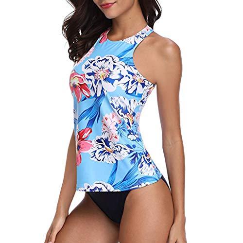 Mujeres de Dos Piezas más Sexy sin Espalda Halter Floral Impreso Traje de baño Trajes de baño Ropa de Playa Liquidación(Azul,XXL)