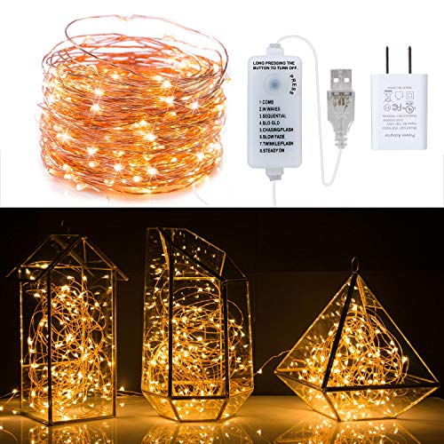 Minetom Fairy Lights, 40Ft 120 LED Waterproof Starry Firefly String Lights with USB and Power Adaptor, 8 Lighting Modes for Christmas Party DIY Wedding Bedroom Decorations