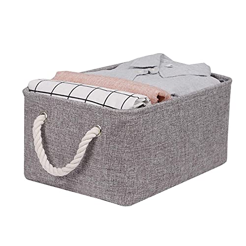 Jooli H Fabric Storage Box, Collapsible Grey Storage Baskets with 2 Rope Handles for Shelves, Clothes, Toys, Wardrobe, 42x32x20cm