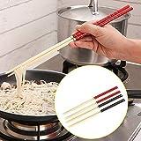 dealglad® 5 paia di tagliatelle da cucina in bambù per cucinare pentole antiscivolo bacchette da tavola da 30 cm