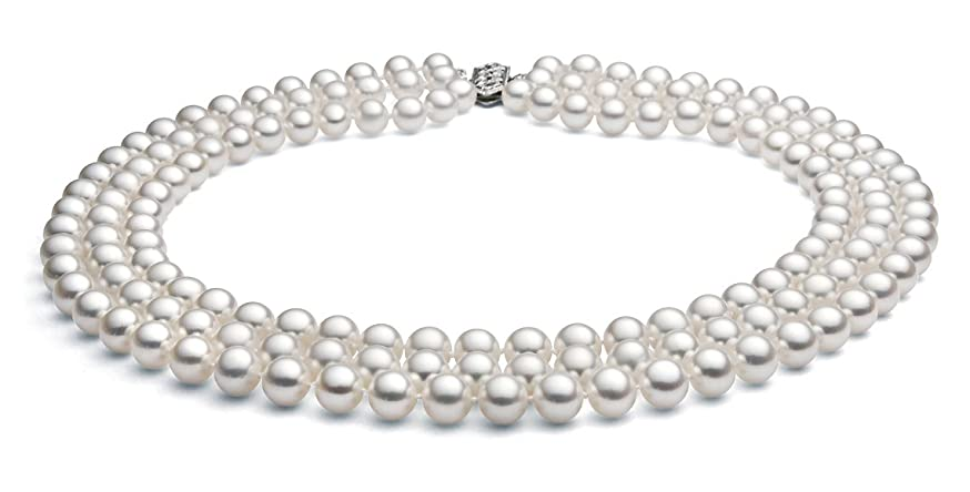 14k White Gold Triple Strand White Akoya Cultured Pearl Necklace AA+ Quality