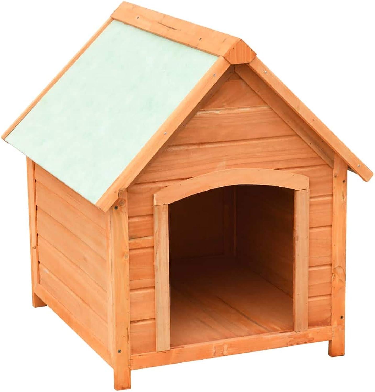 Festnight Wooden Dog Cage  Dog Kennel Dog House, Solid Pine & Fir Wood 72x85x82 cm