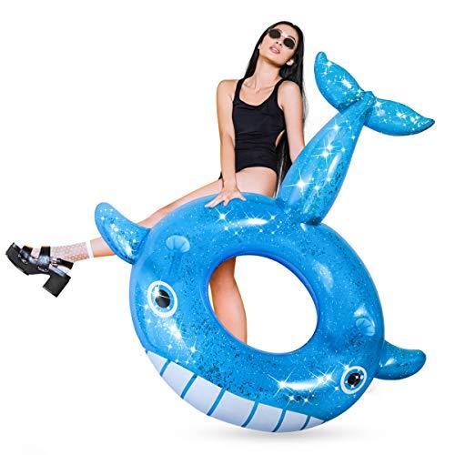 iBaseToy Aufblasbarer Wal, Schwimmtier Schwimmring Pool Float, Wasserspielzeug Sportartikel für die Sommer-Poolparty, Badetier Wal Strandspielzeug für Kinder und Erwachsene