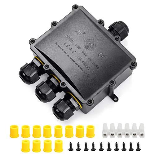 HAUSPROFI Boîte de Dérivation Etanche IP68 Extérieur - 4 Voies Plus Grande Câble, Connecteur Boîte de Jonction Electrique pour Câble Ø 4 à 14mm, ABS + PVC