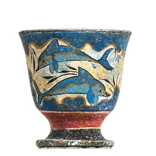 Taza de Pitágoras de la Justicia de Pitágoras - Taza de cerámica pintada a mano con delfines griegos antiguos
