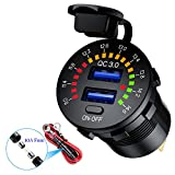 LiDiVi [Upgraded Version] Quick Charge 3.0 Dual USB Car Charger Socket with Colorful Voltmeter & ON/Off Switch, 12V USB Outlet for Car Marine Boat Motorcycle ATV Bus Truck and More - Black