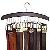 Richards Homewares 75532 Holds 12 Wooden Hangers for Closet Organization and Storage of Mens Belts-Dark Walnut Wood and Chrome Accents-Display Holder with Hooks