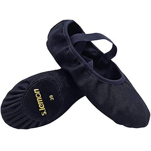 S.lemon Elástico Lona Zapatillas de Ballet Zapatos de Baile para Niños Niñas Mujeres Hombres Negro (26 EU)