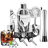 Cocktail Shaker Set, Bsyexcellent 12 Piece Bartender Kit Bar Tool with Bar Accessories, Stand, Stainless Steel Martini Mixer, Drink Mixing Spoon, jigger, Bottle Opener, Pour Spouts, Home Bartending