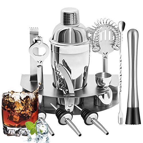 Cocktail Shaker Set Bsyexcellent 12 Piece Bartender Kit Bar Tool with Bar Accessories Stand Stainless Steel Martini Mixer Drink Mixing Spoon jigger Bottle Opener Pour Spouts Home Bartending