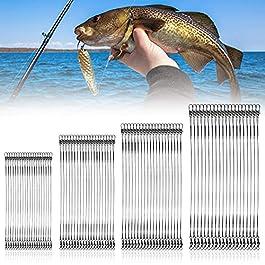 FIGFYOU 80PCS Fil de Pêche en Acier Inoxydable Noir Bas de Lignes en Acier Inoxydable Fil Leurre Fil de Pêche Acier…
