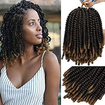 3 Pack Spring Twist Crochet Braiding Hair 8 Inch Bomb Twist Crochet Braids Ombre Colors Afro Curly Braids Fluffy Synthetic Braids Hair Extensions 30 Strands 110g/Pack  8inches T1B-27