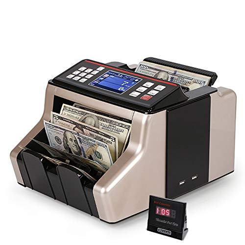 SURPCOS Money Counter Cash Bill Counter Automatic Counterfeit Detection with UV/MG/IR/MT Function Bill Counting Machinew/External Display, 1,000 Notes Per Minute for Mix Bill (Gold)