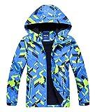 Happy Cherry - Chaqueta con capucha para niño, cortavientos, impermeable, para niño, niña, chaqueta media temporada, estampada azul 7-8 Años