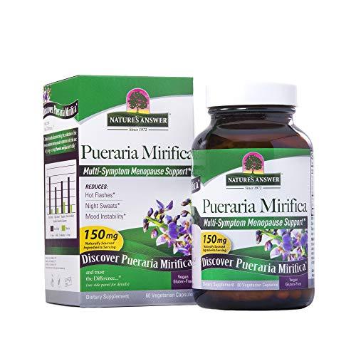Nature's Answer Pueraria Mirifica Vegetarian Capsules Contains Folic Acid & Vitamin B12 | Promotes Women's Health | Menopause Relief | Gluten-Free & Vegan 60-Count