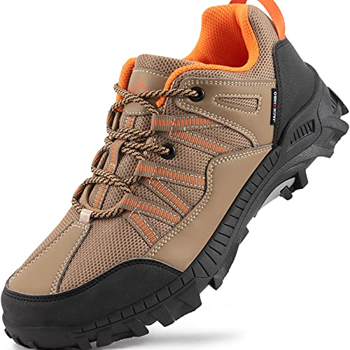 JACKSHIBO Wanderschuhe Herren Damen Trekkingschuhe Leicht Atmungsaktiv Traillaufschuhe Walking Schuhe Wanderhalbschuhe Outdoorschuhe, Khaki 43EU