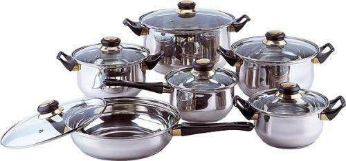 Ekorapid Stainless Steel Cooking Pot 12 L 30 cm Induction and Other Hobs with Glass Lid