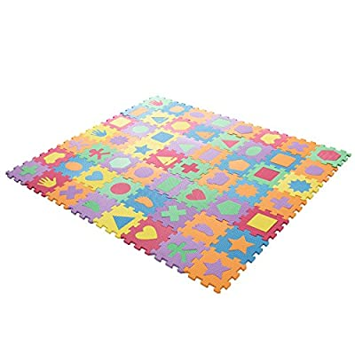 Interlocking Foam Tile Play Mat with Shapes - Nontoxic Children's Multicolor Puzzle Tiles for Playrooms, Nurseries, Gyms and More