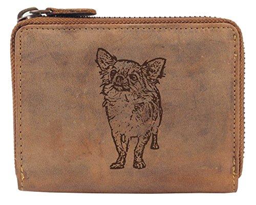 Greenburry Damengeldbörse mit Hunde-Motiv Chihuahua, eine Geschenkidee für Hundefreunde Leder