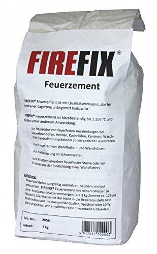 FIREFIX 2058 Feuerzement hitzebeständig bis 1.250 °C, Sackinhalt: 2 kg, Grau