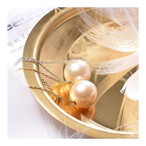 LUOSI Süßwasser-Zuchtperlen hängende Perlen Einfache Halskette Runde Rosa Lila 11-12mm einzelne Perle Edison Perle for Freundin Geschenk Geschenk