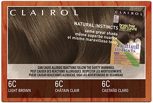 Clairol Natural Instincts, 6C, Brass Free Light Brown, 2 pk