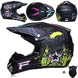 HSENA OffRoad Caschi del motociclo adolescenti adulti antiurto Luce del fronte pieno della motocicletta di motocross del casco Discesa circonferenza L / testa (5960 centimetri)
