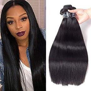Brazilian Virgin Straight Hair 3 Bundles 100% Unprocessed Human Hair Extensions Weave Natural Color