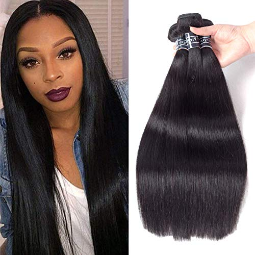 Amella Hair 100% Unprocessed Brazilian Straight Human Hair 3 Bundles 10' 12' 14' 10A Brazilian Straight Virgin Human Hair Weave Bundles Extensions Natural Color