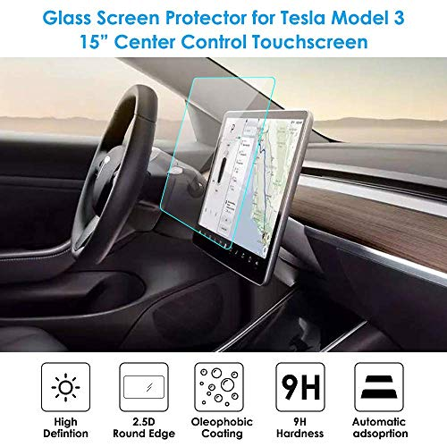 Topfit Tesla Model 3 Displayschutzfolie aus gehärtetem Glas für Tesla Modell 3, 9H, Kratzfest und stoßfest (Matt & HD)