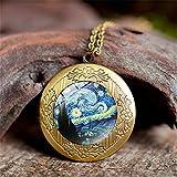 Joyas Time Gemstone,Cielo Estrellado Van Gogh Pintura Arte En Hermosa Ciudad De Moda,Cámara Caja Pulsera Stud Pendientes Traje Europeo Y Americano Collar Joyería Cristal Colgante Cadena Moda Re