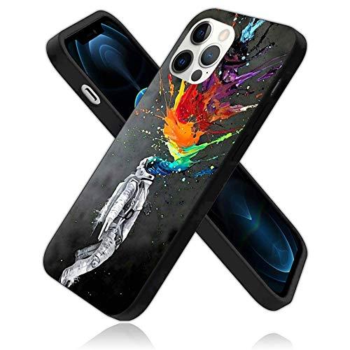 Carcasa protectora para iPhone 12 Pro Max, diseño de astronautas, colorido arco iris de astronautas, funda de silicona a prueba de golpes (con forro antiarañazos), colorido (6.7 pulgadas)