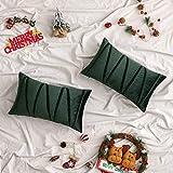 Woaboy 2 gestreifte Samt-Kissenbezüge, modern, dekorativ, Weihnachts-Kissenbezüge, rechteckig, weich, gemütlich für Bett, Sofa, Couch, Auto, Wohnzimmer, 30 x 50 cm, dunkelgrün