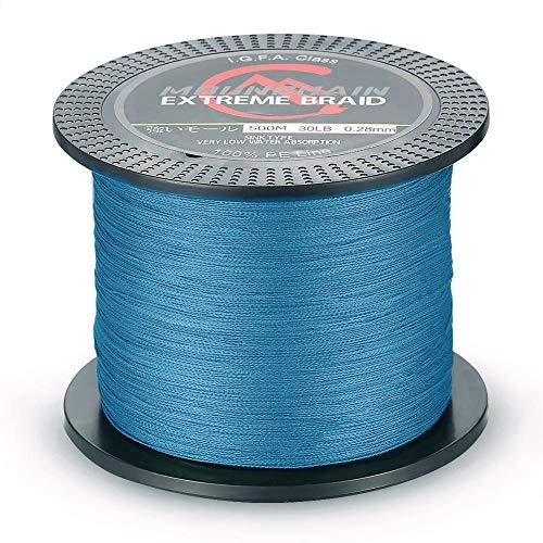 Mounchain Geflochtene Angelschnur 500M (Blau, 0,12mm-10lb)