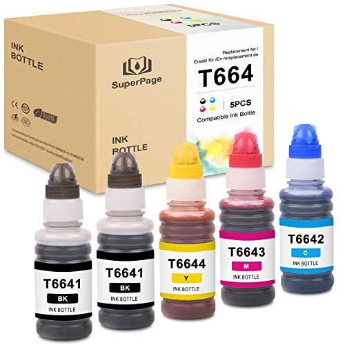 5 Superpage Kompatible Epson 664 T6641-T6644 Tinte für Epson EcoTank ET-2650 L300 L350 L355 L365 L455 L550 L555 L565 L100 L200 ET2550 ET2500 ET4500, 2Schwarz Cyan Magenta Gelb