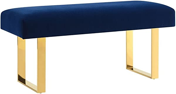 Tov Furniture The Alexis Collection Contemporary Style Velvet Upholstered Salon Bench Navy With Gold Legs