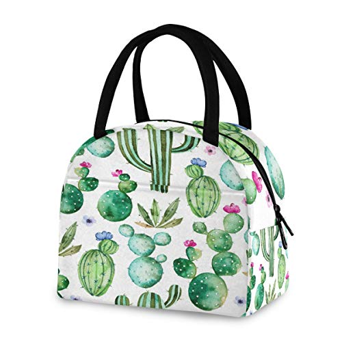 ZZKKO Cactus Succulent Floral Lunch Bag Box Tote Organizer Lunch Container Insulated Zipper Meal Prep Cooler Handbag For Women Men Home School Office Outdoor Use