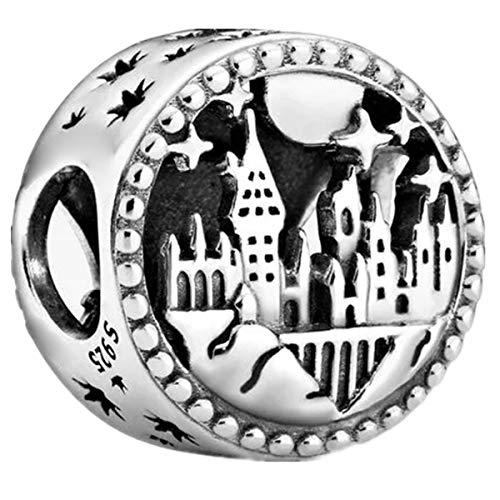 Annmors Abalorios Charms Colgantes de Iconos de Colegio Hogwarts de Magia Cuentas Plata de Ley 925 con Circonita cúbica Transparente Compatible con Pulsera Pandora & Europeo, Bead para Mujer Niña
