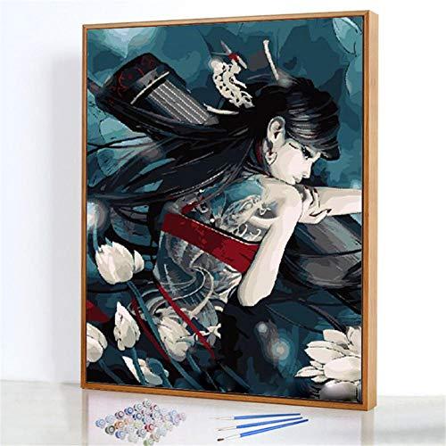 Diy Digitale Olieverfschilderij,Zwaard 3 karakters Schilderen Door Cijfers,Linnen Canvas ,Foto Voor Binnendecoratie - 40x50cm(Fotolijst)