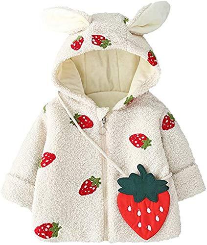 Carolilly - Abrigo de manga larga para recién nacidos, otoño e invierno, a la moda, bordado de fresas, bonito Plus, chaqueta cálida con orejas de conejos de terciopelo Bianco 2-3 años