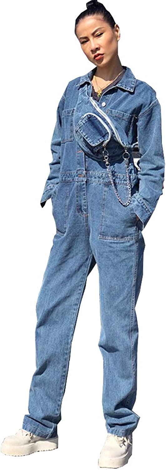 JUNE Women's Street Style Denim Jumpsuit Casual Workwear Rompers with Waist Bag
