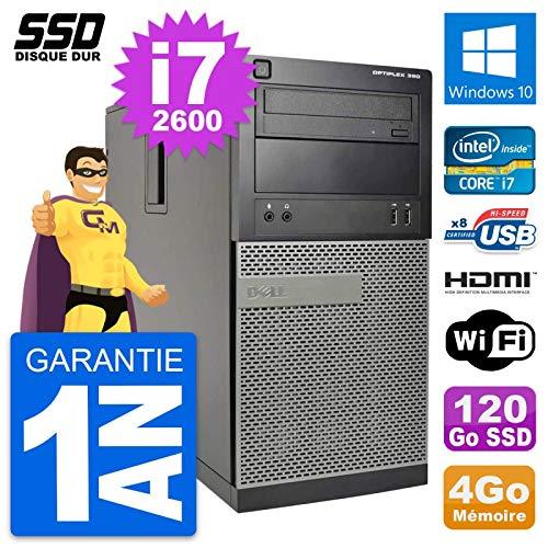 Dell PC Tour Optiplex 390 MT Core i7-2600 RAM 4Go SSD 120Go HDMI Windows 10 Wifi (Reconditioned)