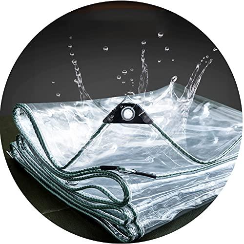 AWSAD Hochleistungs-wasserdichtes PVC, Klare Plane Wasserdicht Staubdicht Zugfest Lange Nutzungsdauer Zum Außenzaun Balkon Schutz Vor Dem Regen (Color : Clear, Size :...